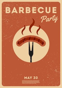 Tiempo de barbacoa. fiesta de barbacoa. cartel vintage día conmemorativo