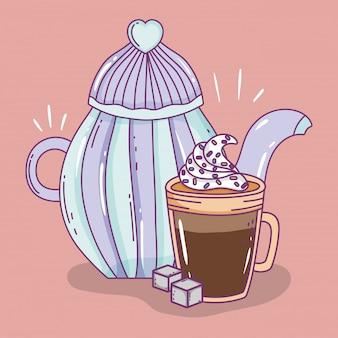 Tiempo de café bosquejo plano