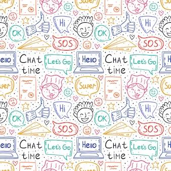 Tiempo de chat de dibujos animados, doodle, patrones sin fisuras