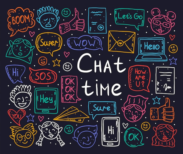 Tiempo de chat de dibujos animados, garabatos, imágenes prediseñadas, conjunto de elementos, pegatinas, iconos. bocadillo de diálogo, mensaje, emoji, carta, gadget. diseño monocromático negro.