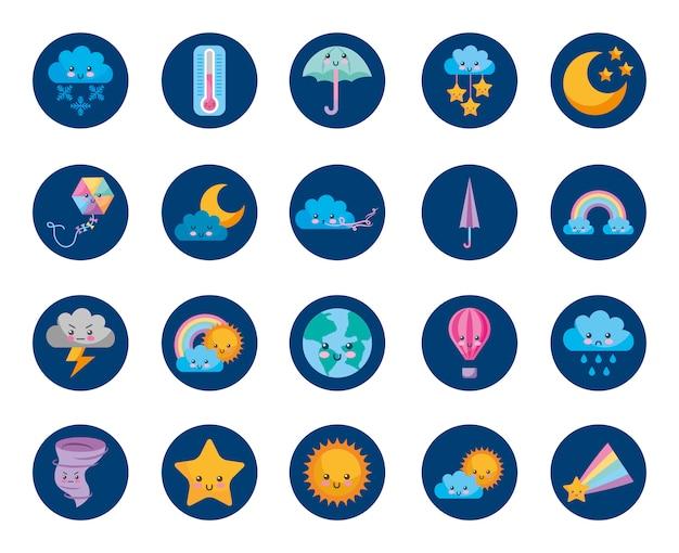 Tiempo y clima set iconos