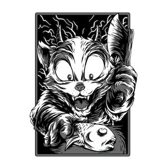 Tiempo de cocción remasterizado en blanco y negro ilustración