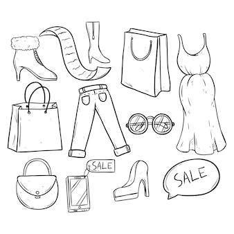 Tiempo de compra y venta con ropa y accesorios de mujer.