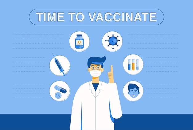Tiempo para el concepto de vacunación contra el coronavirus. los médicos aconsejan que hacer cuando se infecta con coronavirus