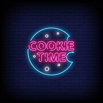 Tiempo de cookies letreros de neón estilo de texto