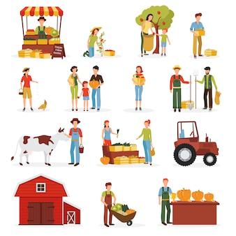 Tiempo de cosecha de otoño en la colección de iconos plana granja