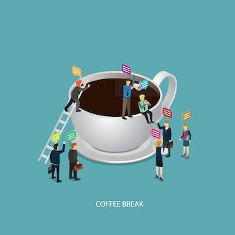 Tiempo de pausa de café de negocios con el icono de café e isométrica