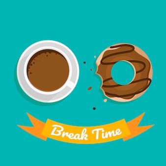 Tiempo de descanso con café y chocolate.
