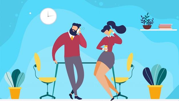 Tiempo de descanso o coffee break en office flat cartoon. vector hombre y mujer