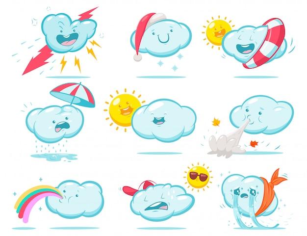 Tiempo de dibujos animados lindo con nubes divertidas y sol. conjunto de caracteres aislado en un fondo blanco.