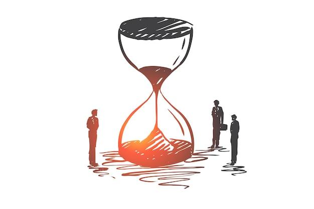 Tiempo, dinero, negocios, finanzas, concepto de inversión. boceto de concepto de reloj de arena y empresarios dibujados a mano.
