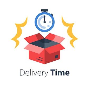 Tiempo de entrega, envío rápido, cronómetro y caja abierta, período de espera del paquete postal, distribución oportuna, servicio de mensajería, ilustración plana