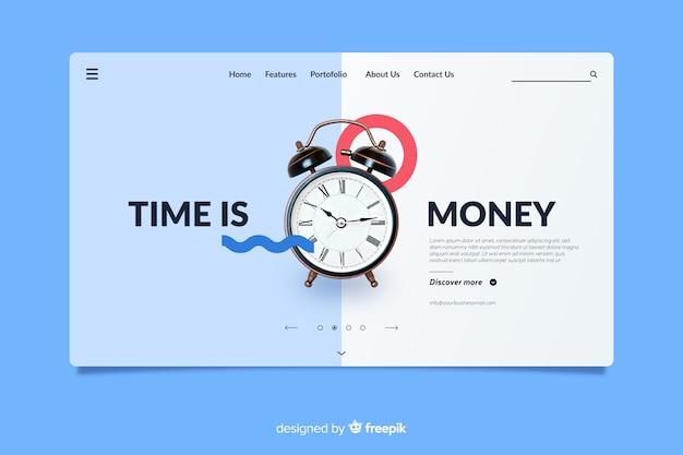 El tiempo es dinero página de inicio de negocios