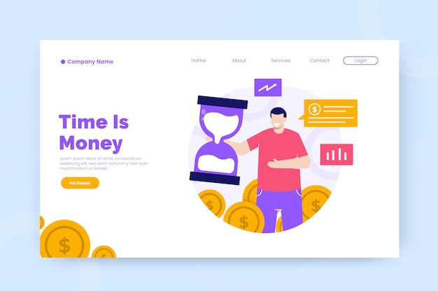 El tiempo es dinero plantilla de página de destino