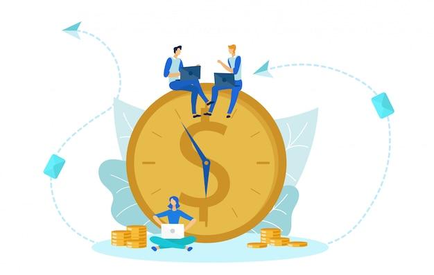 El tiempo es dinero, reloj transformado en ingresos.