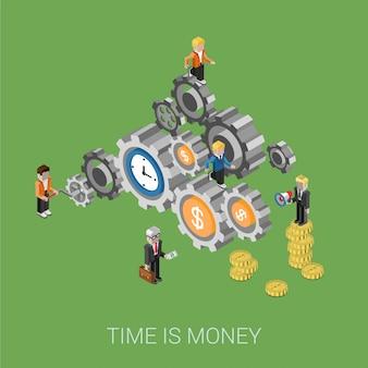 El tiempo es dinero, trabajo en equipo, concepto isométrico del personal. gente de negocios en la ilustración de engranajes.