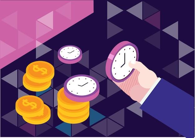 El tiempo es ilustración del concepto de dinero, gestión del tiempo