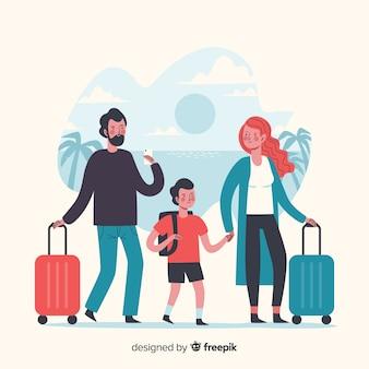 Tiempo familiar viajando de vacaciones