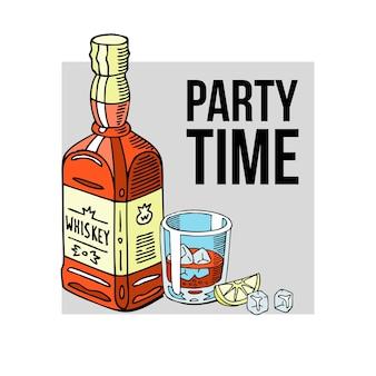 Tiempo de fiesta, etiqueta de bebida de botella de alcohol y vaso de whiske