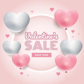 Tiempo de fiesta, fondo del día de san valentín con corazones blancos y rosados en 3d, marco de círculo, vector de banner