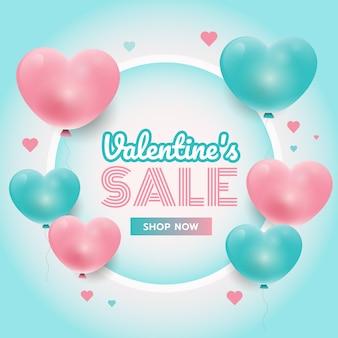 Tiempo de fiesta, fondo del día de san valentín con corazones rosados y azules 3d, marco de círculo, promoción de ventas