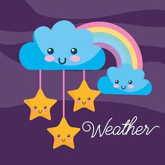 Tiempo kawaii dibujos animados arco iris nubes estrellas