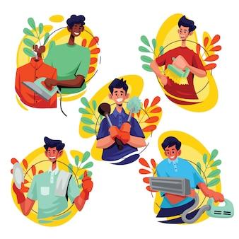 Tiempo de limpieza de la casa, ilustración de personaje masculino