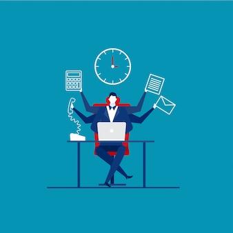 Tiempo ocupado del empresario en el trabajo duro. un montón de trabajo