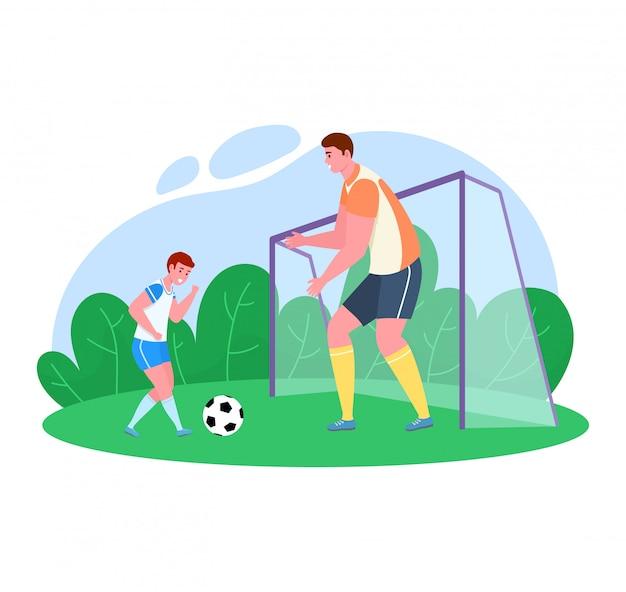 Tiempo del padre con la ilustración del hijo, papá de dibujos animados jugando al fútbol con un niño en el campo de fútbol de hierba verde sobre blanco