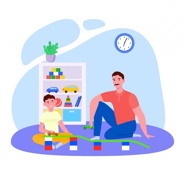 Tiempo del padre con la ilustración del hijo, personaje de dibujos animados de papá jugando divertidos juguetes de coche junto con un niño sonriente en blanco