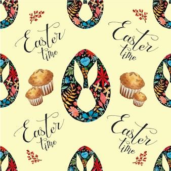 Tiempo de pascua vacaciones de patrones sin fisuras acuarela huevos y muffins sobre fondo amarillo claro