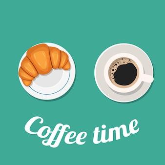 Tiempo de pausa para el café con croissant,