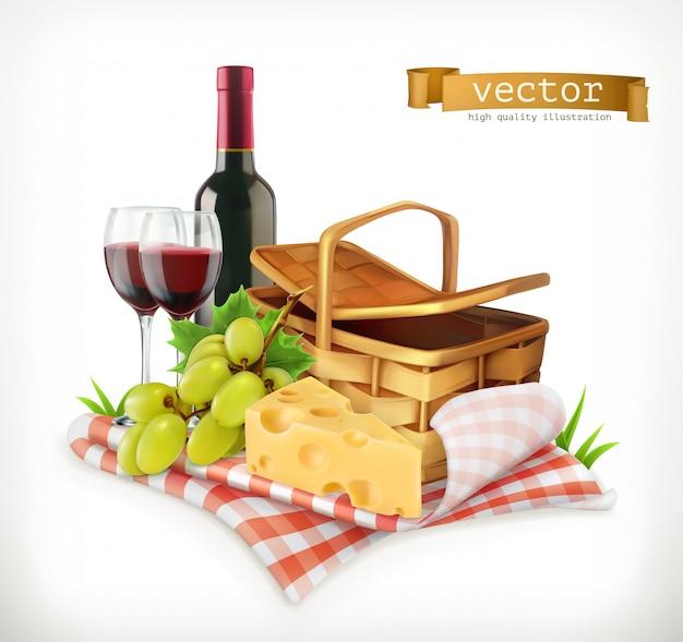 Tiempo para un picnic, naturaleza, recreación al aire libre, un mantel y una canasta de picnic, copas de vino, queso y uvas, ilustración