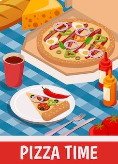 Tiempo de pizza isométrica