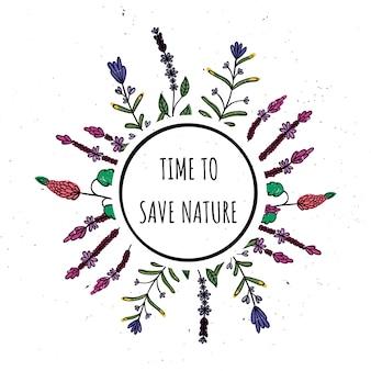 Tiempo para preservar la naturaleza. ilustración de vector con círculo y plantas.