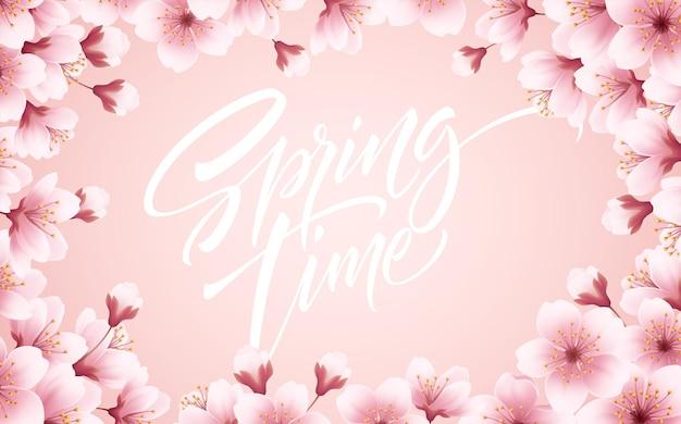 Tiempo de primavera hermoso fondo con flores de cerezo en flor de primavera. rama de sakura con pétalos voladores. ilustración de vector eps10