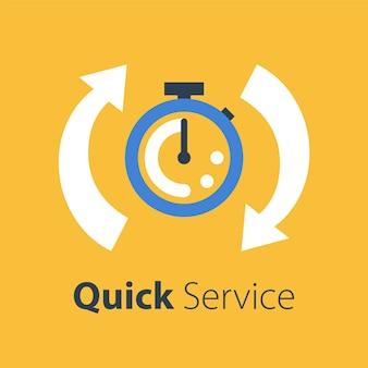 Tiempo rápido, velocidad de cronómetro, entrega rápida, servicios urgentes y urgentes, fecha límite y demora, icono, ilustración