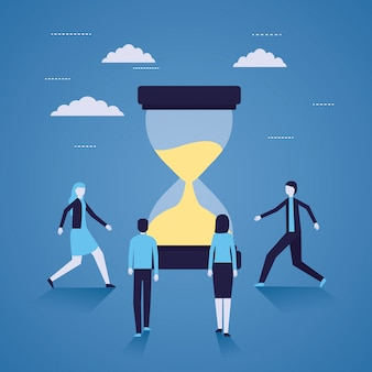 Tiempo de reloj de arena de empresario y mujer