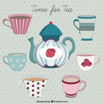 Tiempo del té dibujado a mano