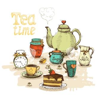 Tiempo del té, naturaleza muerta