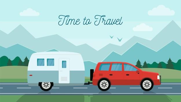 Tiempo para viajar concepto. viajar en coche con remolque de viaje por la montaña. estilo plano. ilustración vectorial