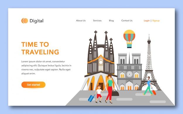 Tiempo para viajar diseño de página de aterrizaje