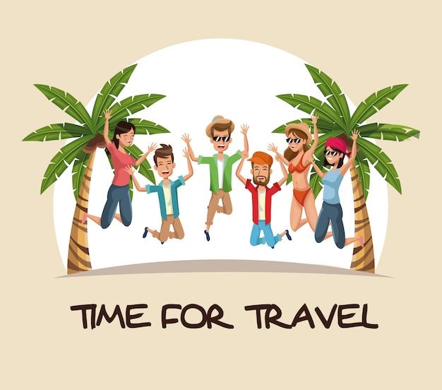 Tiempo para viajar grupo de personas saltando feliz playa de palmeras
