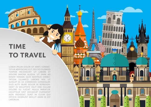 Tiempo para viajar plantilla con atracciones famosas