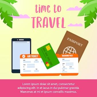 Tiempo para viajar texto diseño de banner de redes sociales.