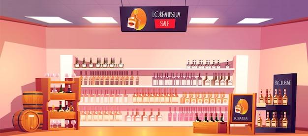 Tienda de alcohol con botellas en estantes y barriles