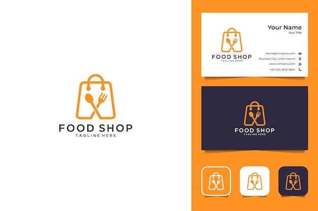 Tienda de alimentos diseño de logotipo moderno y tarjeta de visita.
