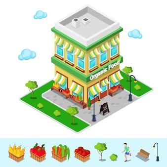 Tienda de alimentos orgánicos. tienda de comestibles isométrica. alimentación saludable. ilustración vectorial
