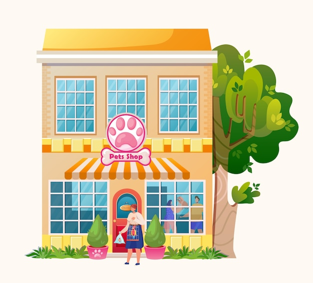 La tienda de animales. edificio de mercado exterior. . carácter de mujer con mascotas. loro y pescado.