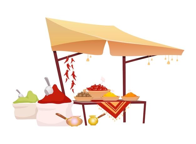 Tienda de bazar indio con ilustración de dibujos animados de especias. toldo del mercado oriental con condimentos exóticos, hierbas tradicionales objeto de color plano. pabellón oriental aislado sobre fondo blanco.